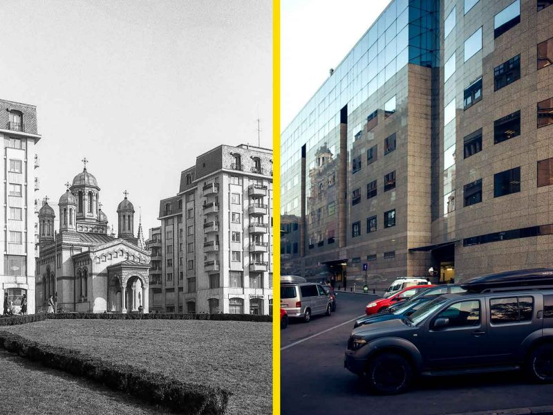 © Andrei Bîrsan, Trecut-au anii, Biserica Zlătari, 1982 (stânga) / Bucharest Financial Plaza, fost Bancorex, 2018 (dreapta).