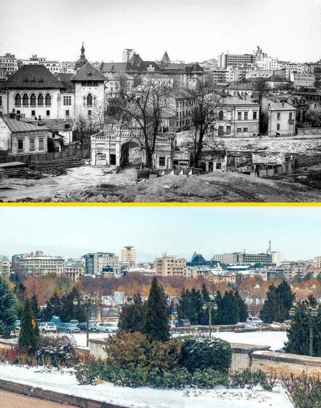 © Andrei Bîrsan, Trecut-au anii, Arhivele Statului și Poarta Arsenalului, 1984 (sus) / Parcul Izvor, 2018 (jos).
