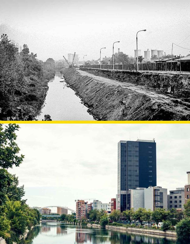 © Andrei Bîrsan, Trecut-au anii, Amenajarea Dâmboviței la Grozăvești, 1985 (sus) / Dâmbovița și Pasajul Basarab, 2018 (jos).