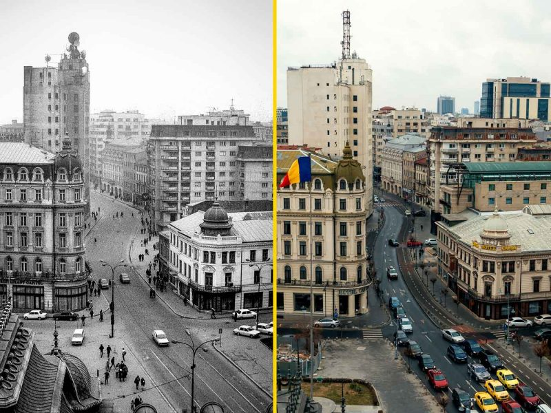 © Andrei Bîrsan, Trecut-au anii, Calea Victoriei 1988 (stânga) / 2019 (dreapta).