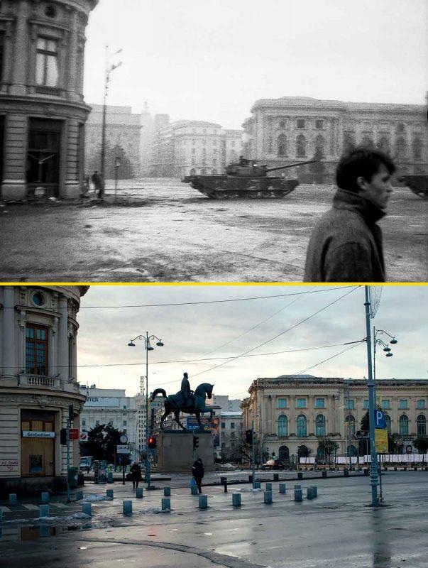 © Andrei Bîrsan, Trecut-au anii, Revoluția Română, 23 Decembrie 1989, dimineața (sus) / Piața Revoluției, 2018 (jos).