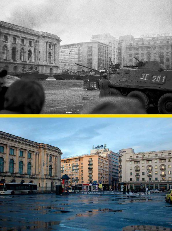 © Andrei Bîrsan, Trecut-au anii, Revoluția Română, 23 Decembrie 1989, dimineața (sus) / Piața George Enescu, 2018 (jos).
