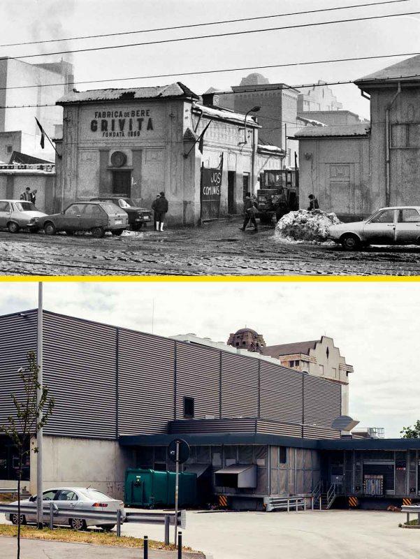 © Andrei Bîrsan, Trecut-au anii, Fabrica de bere Grivița, imediat după Revoluție, 1989 (sus) / Kaufland, 2018 (jos).