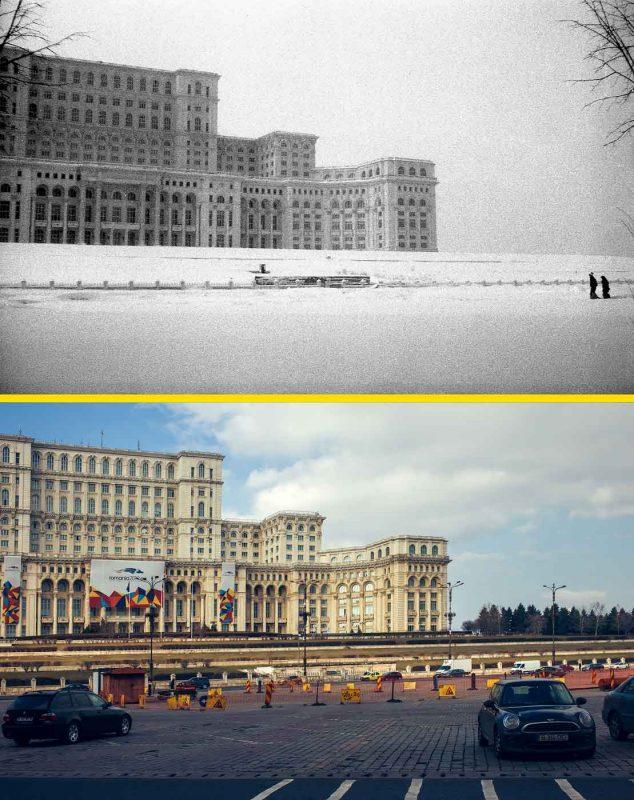 © Andrei Bîrsan, Trecut-au anii, Casa Poporului, 1991 (sus) / 2019 (jos).