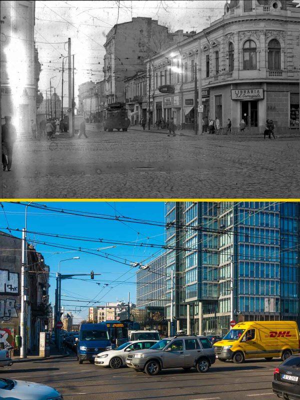 © Andrei Bîrsan, Trecut-au anii, Intersecția Căii Griviței cu Buzeștii, 1986 (sus) / 2019 (jos).