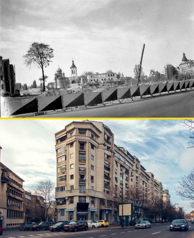 © Andrei Bîrsan, Trecut-au anii, Biserica Mihai Vodă și clopotnița, translatate, 1985 (sus) / Splaiul Independenței, 2019 (jos).