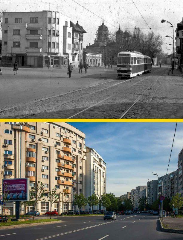 © Andrei Bîrsan, Trecut-au anii, Biserica Dobroteasa, Calea Văcărești, 1982 (sus) / Bulevardul Mircea Vodă, 2019 (jos).