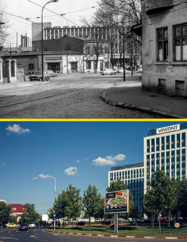 © Andrei Bîrsan, Trecut-au anii, Magazinul Fabricii de Tricotaje Crinul și Fabrica Timpuri Noi, 1987 (sus) / Piața Timpuri Noi, 2018 (jos)