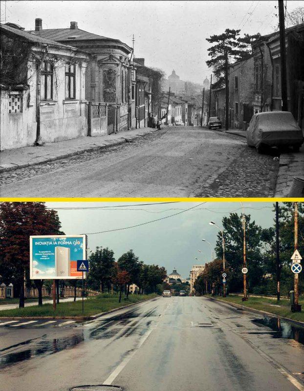 © Andrei Bîrsan, Trecut-au anii, Cartierul Uranus, strada Ecoului, 1984 (sus) / Calea 13 Septembrie, 2018 (jos).