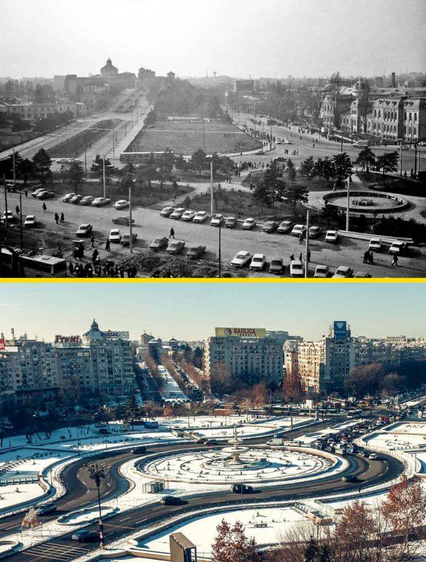 © Andrei Bîrsan, Trecut-au anii, Dealul Mitropoliei și Spitalul Brâncovenesc, 1983 (sus) / Fântânile, 2019 (jos).